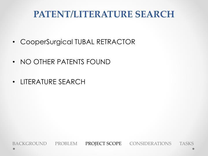PATENT/LITERATURE SEARCH