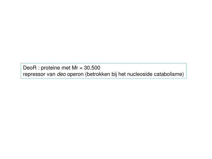DeoR : proteine met Mr = 30.500