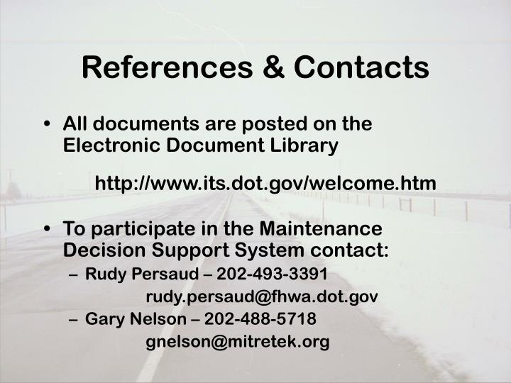References & Contacts