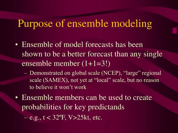 Purpose of ensemble modeling
