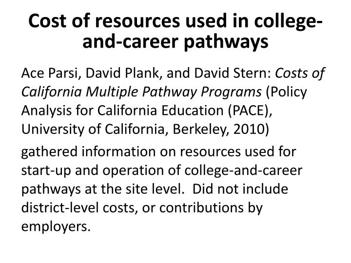 Cost of resources used in college-and-career pathways