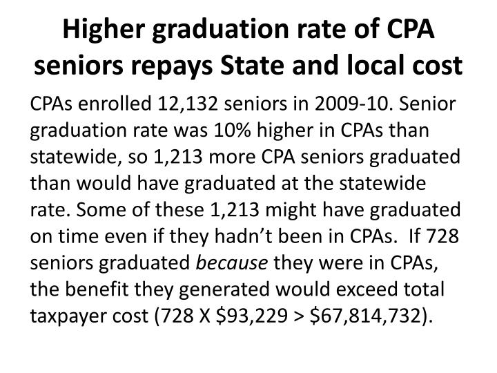 Higher graduation rate of CPA seniors repays State and local cost