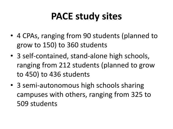 PACE study sites