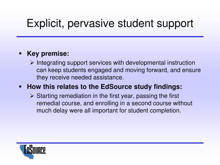 Explicit, pervasive student support