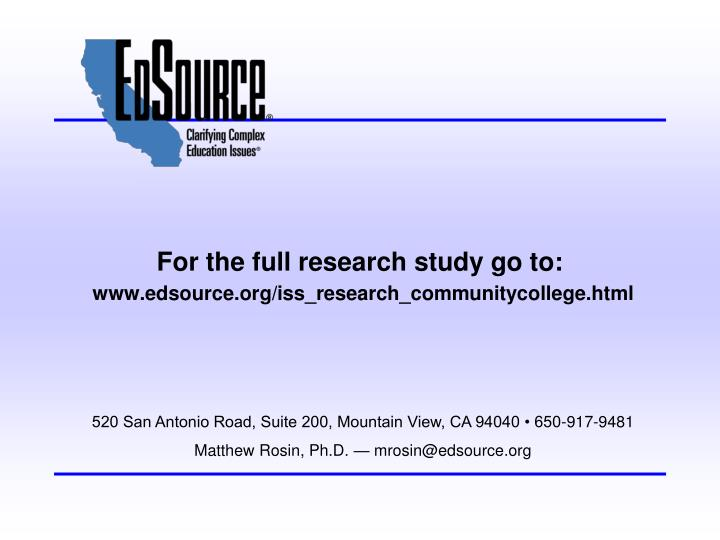 For the full research study go to:
