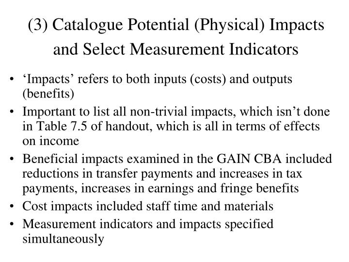 (3) Catalogue Potential (Physical) Impacts and Select Measurement Indicators