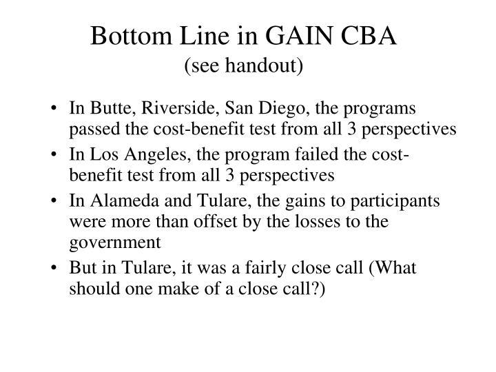 Bottom Line in GAIN CBA