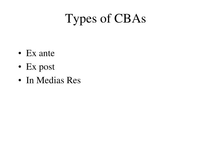 Types of CBAs
