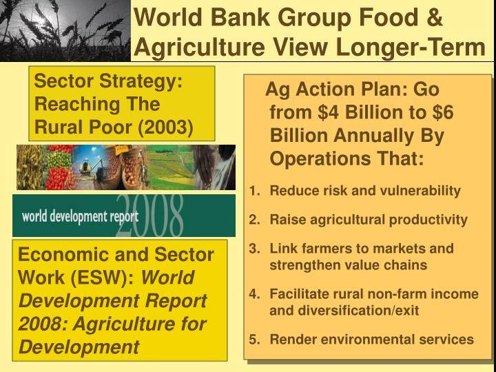 World Bank Group Food & Agriculture View Longer-Term