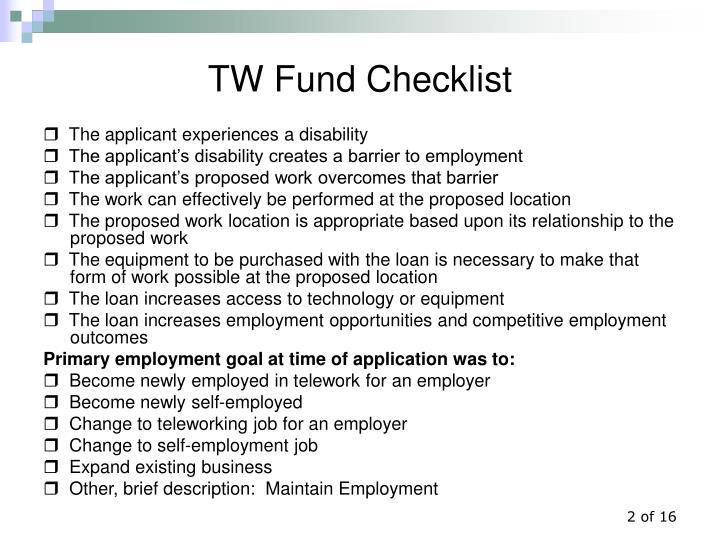 Tw fund checklist