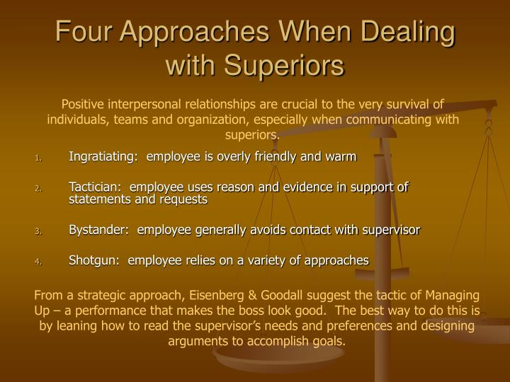 Four Approaches When Dealing with Superiors