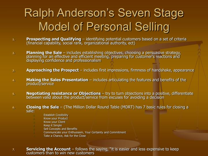 Ralph Anderson's Seven Stage Model of Personal Selling