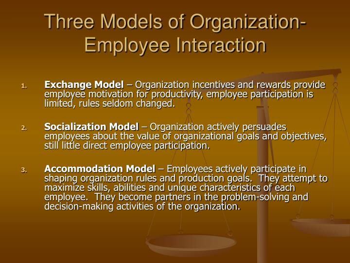 Three Models of Organization-Employee Interaction