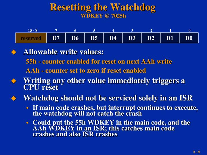 Allowable write values: