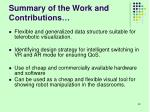 summary of the work and contributions1