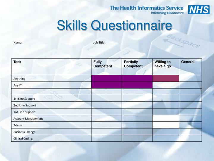Skills Questionnaire