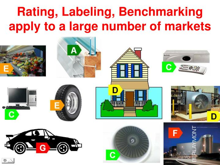 Rating, Labeling, Benchmarking apply to a large number of markets