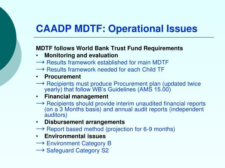 CAADP MDTF: Operational Issues