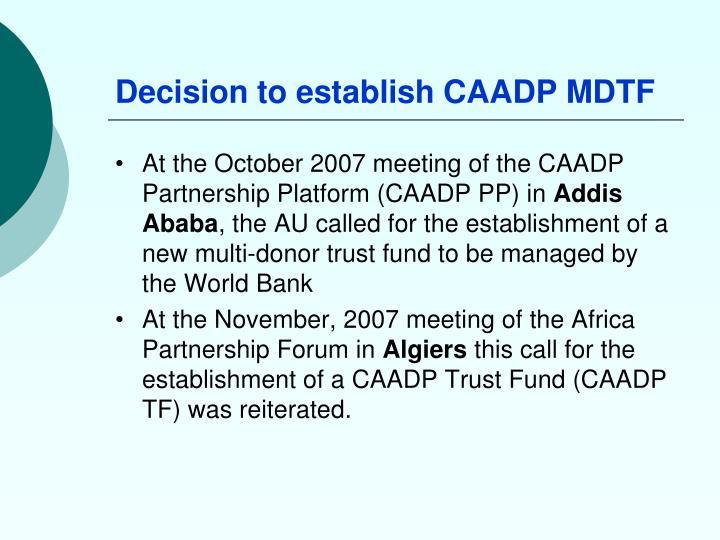 Decision to establish CAADP MDTF