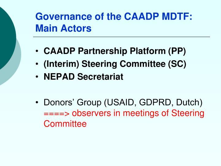Governance of the CAADP MDTF: