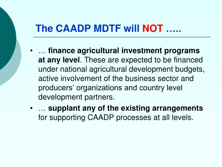 The CAADP MDTF will