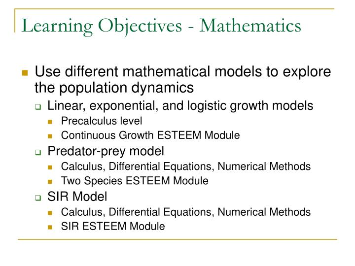 Learning Objectives - Mathematics