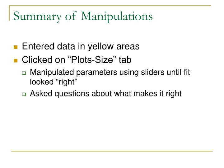 Summary of Manipulations