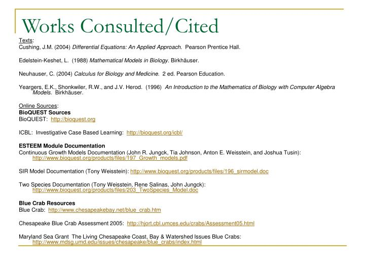 Works Consulted/Cited