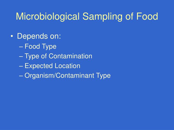 Microbiological Sampling of Food