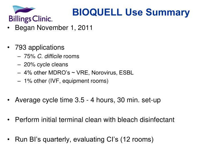 BIOQUELL Use Summary