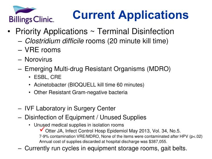 Priority Applications ~ Terminal Disinfection