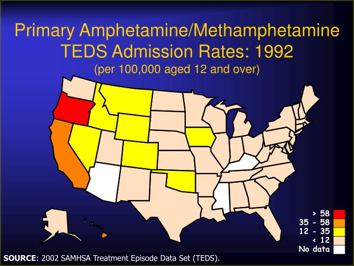 Primary amphetamine methamphetamine teds admission rates 1992 per 100 000 aged 12 and over