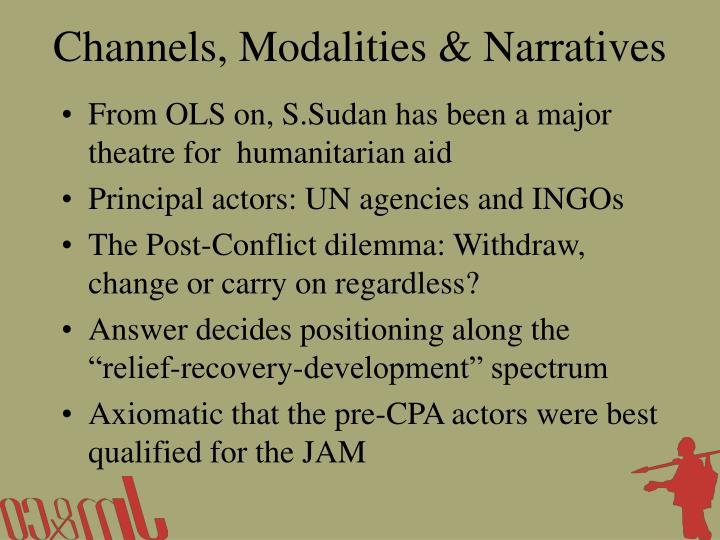 Channels, Modalities & Narratives