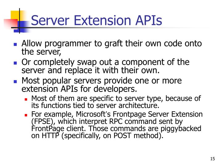 Allow programmer to graft their own code onto the server,