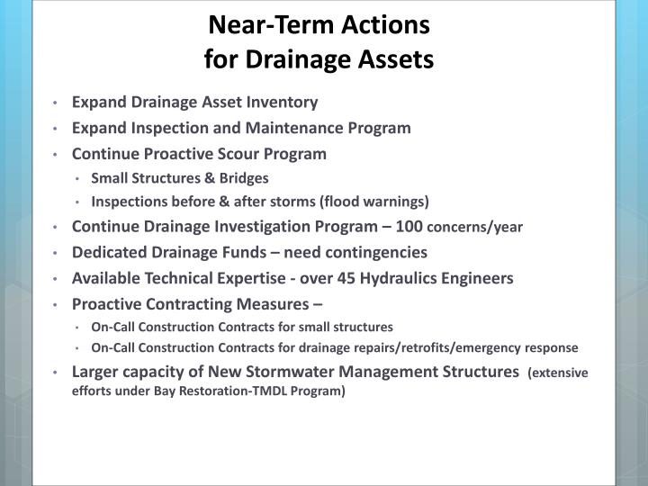 Near-Term Actions