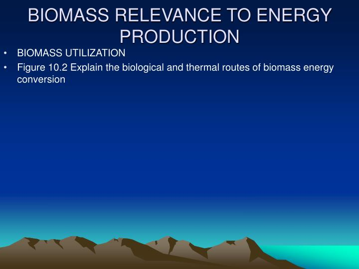 BIOMASS RELEVANCE TO ENERGY PRODUCTION