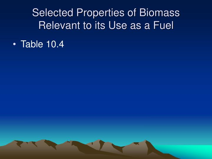 Selected Properties of Biomass Relevant to its Use as a Fuel