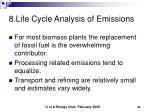 8 life cycle analysis of emissions