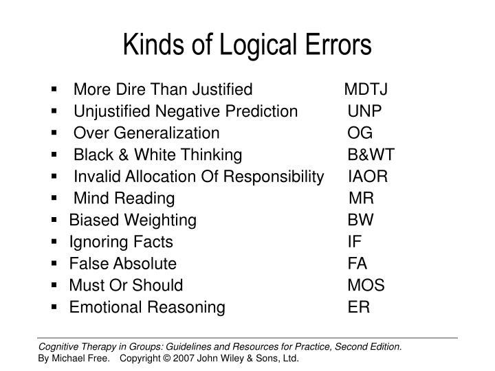 Kinds of logical errors
