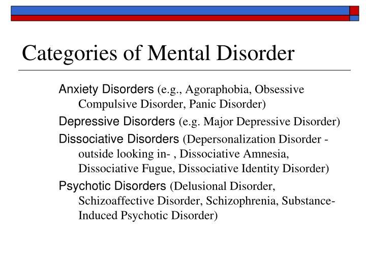 Categories of Mental Disorder