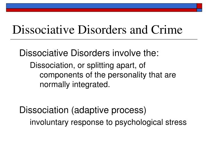 Dissociative Disorders and Crime