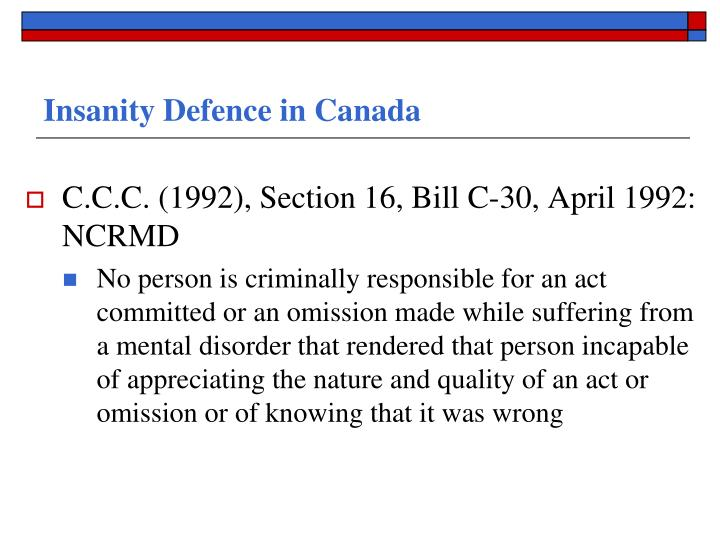 Insanity Defence in Canada