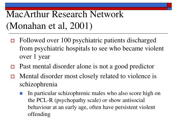 MacArthur Research Network (Monahan et al, 2001)