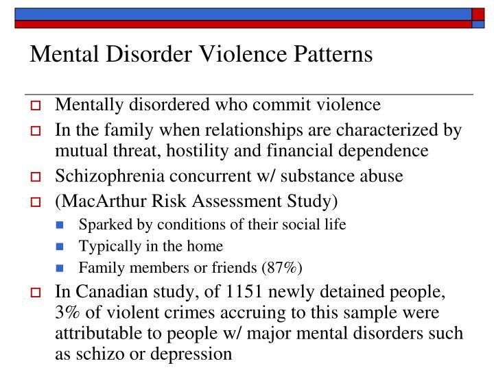 Mental Disorder Violence Patterns
