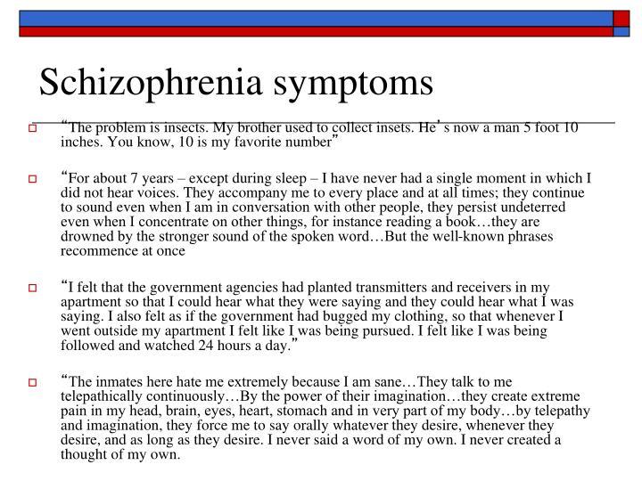 Schizophrenia symptoms