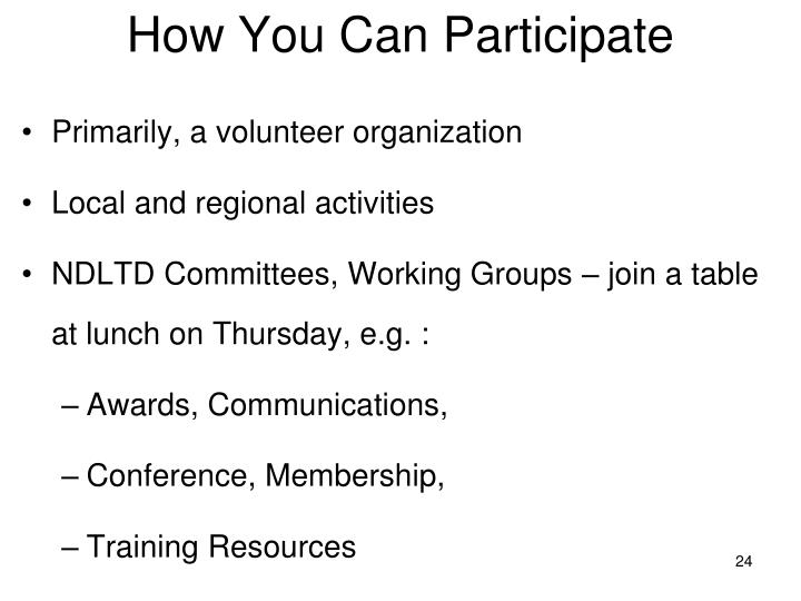 How You Can Participate