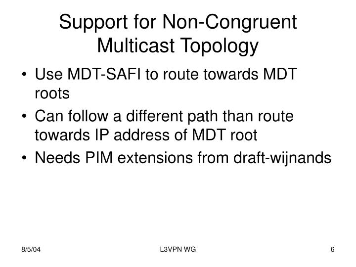 Support for Non-Congruent Multicast Topology