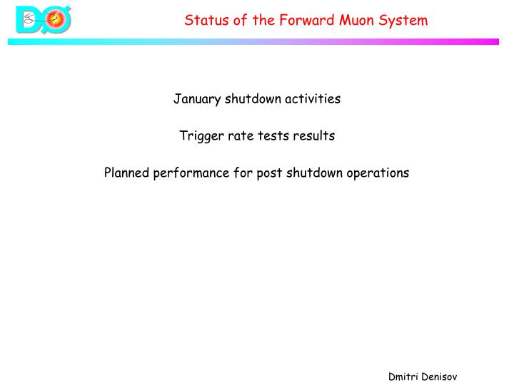 Status of the forward muon system