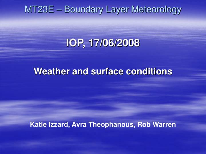 mt23e boundary layer meteorology
