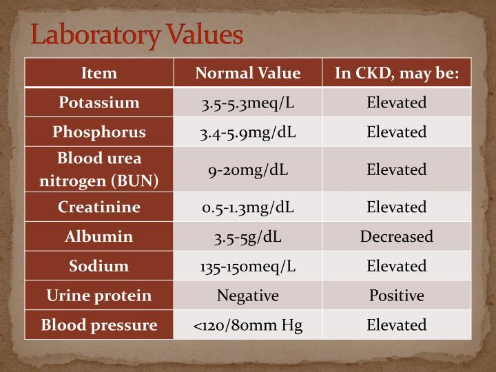 Laboratory Values